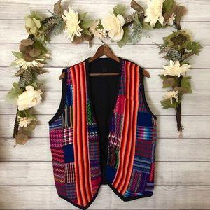 Tejidos Aztec Colored Print Patch Vest sz XL ✨
